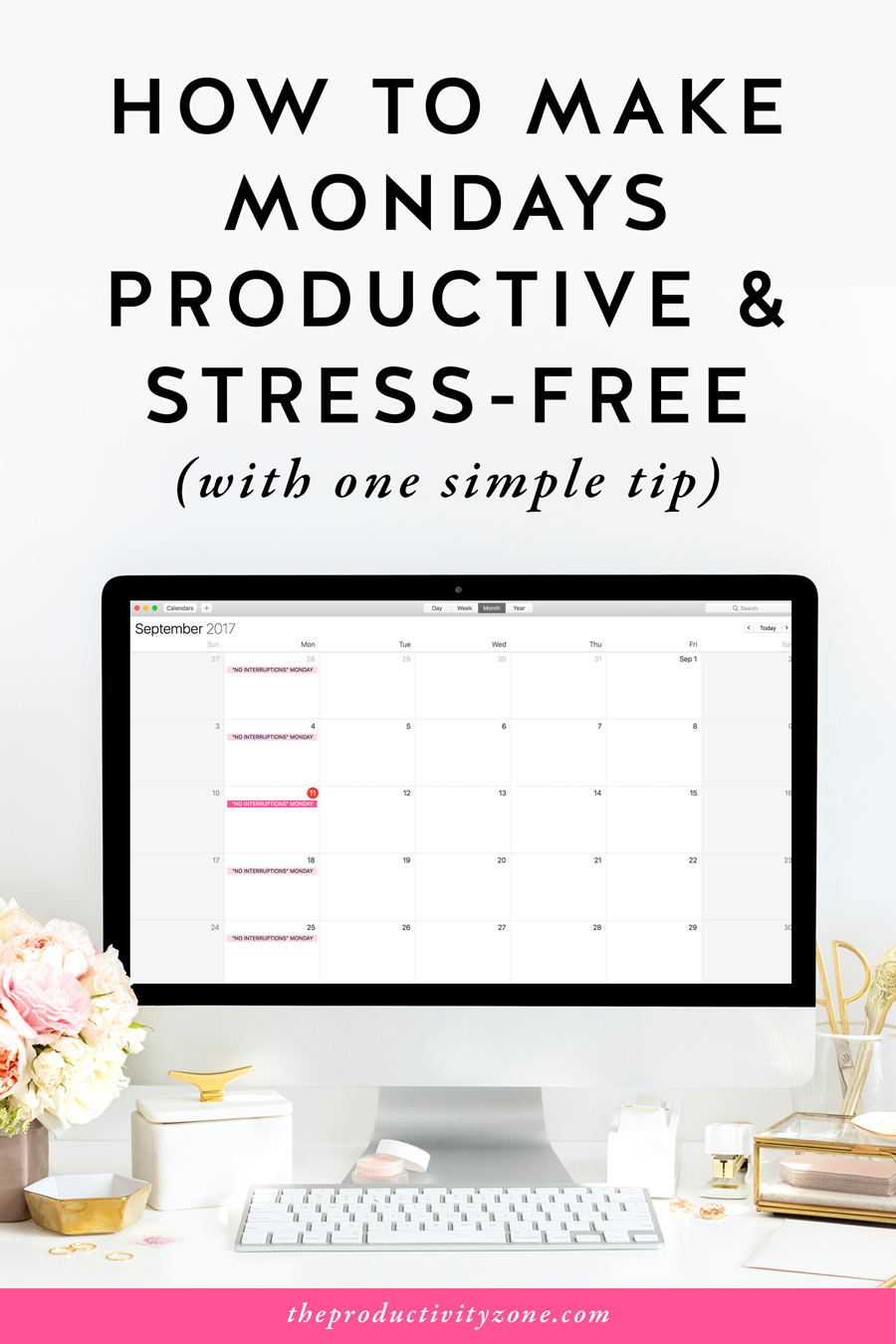 How to make Mondays productive and stress-free with one simple tip that will completely change the way you schedule your week and shoot your productivity through the roof on The Productivity Zone!!