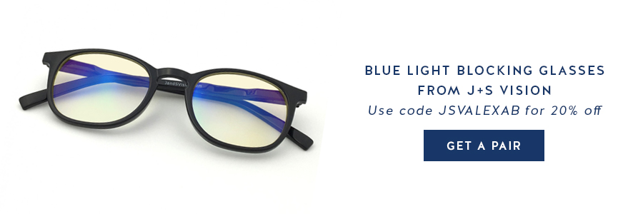 Blue light blocking glasses can help those of us who sit at a desk all day with tension headaches, eye tiredness, and eye strain. Get a pair from J+S Vision today!! (I LOVE mine!!)