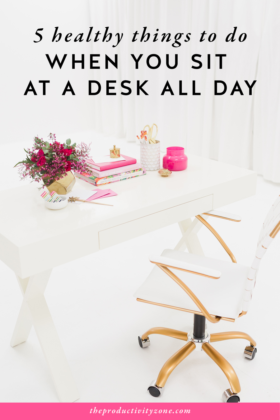 Small, healthy changes can and will better your female entrepreneur lifestyle if you practice them consistently for a long period of time. Over on The Productivity Zone, I suggest 5 healthy things you can do when you sit at a desk all day (and not one of them involves kale)!!