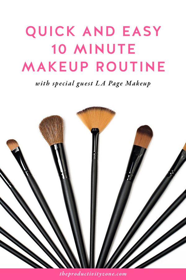 Let's make lipstick makes me productive a thing!! Female entrepreneurs and work at home moms, you can feel pretty AND productive (even when you work from home) with this quick and easy 10 minute makeup routine from LA Page Makeup on The Productivity Zone!!