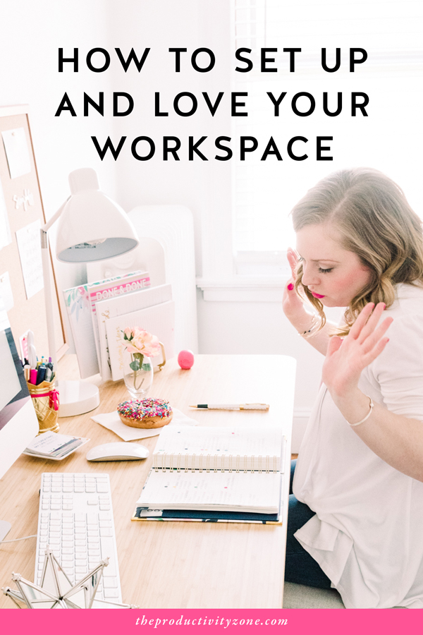 I used to HATE working at my desk. Then I turned it into a pretty and productive workspace I not only LOVE to hang out in but actually get stuff DONE in. Want to know what I changed? Click through for the full post on The Productivity Zone!!