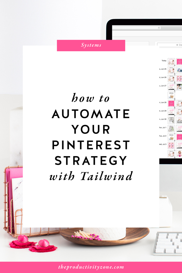 Pinterest is an amazing traffic-generating powerhouse for building your brand, growing your email list, and making more sales! But, did you know the whole process could be automated? Check out the 5 ways you can automate your Pinterest strategy using Tailwind on The Productivity Zone!!