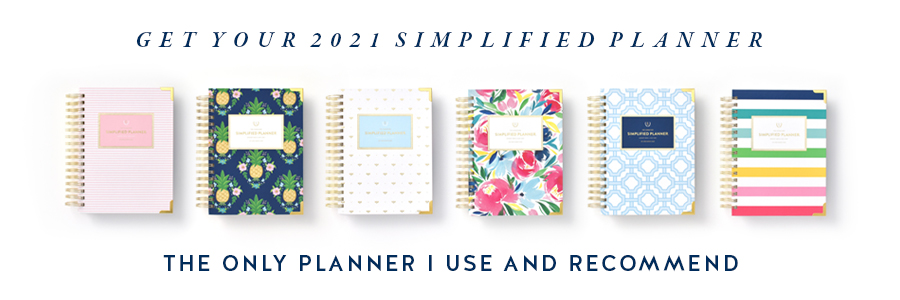 2021 Simplified Planners in Pink Pinstripe, Pineapple Crest, Gold Bee, Happy Floral, Blue Trellis, and Happy Stripe