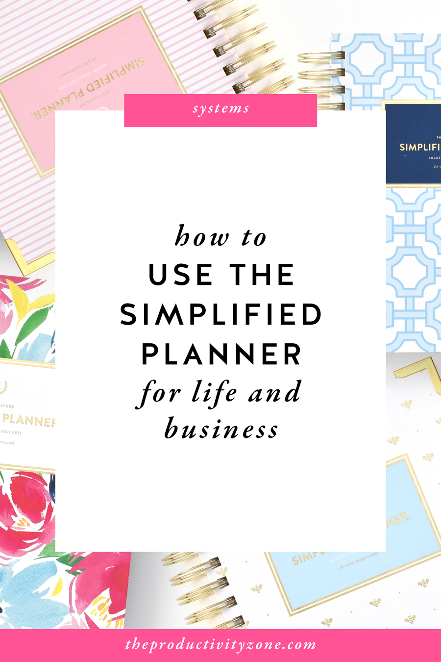 Daily Simplified Planner in Pink Pinstripe, Blue Trellis, Happy Floral, and Gold Bee