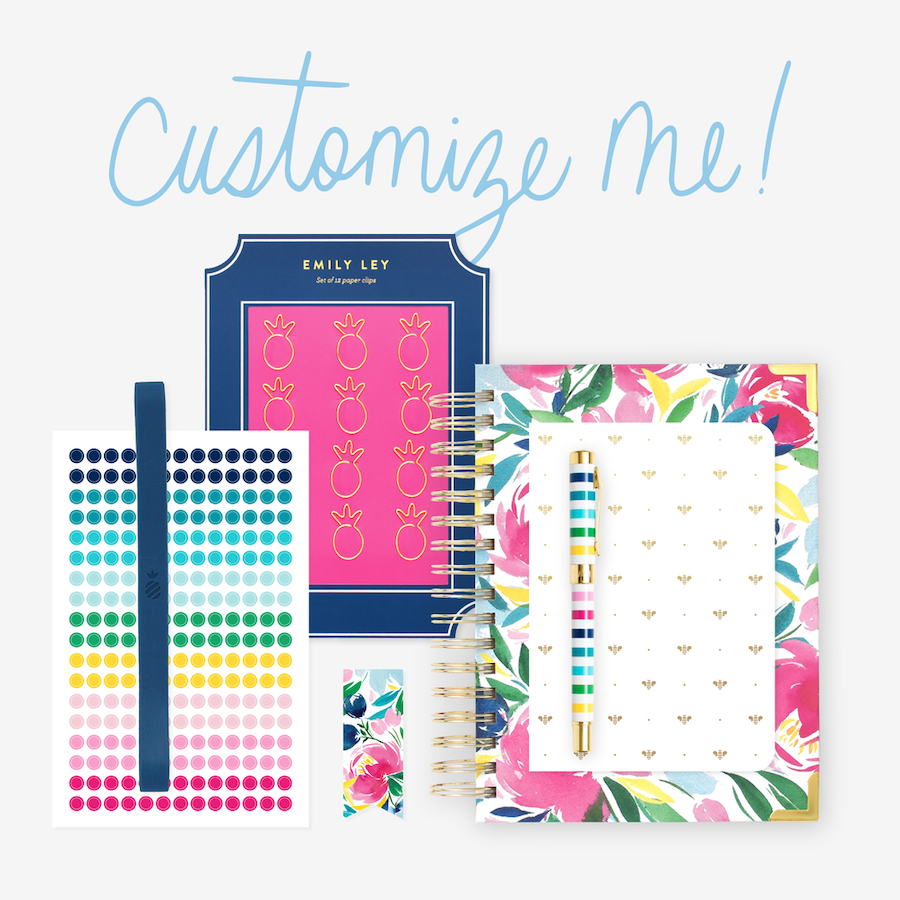 Daily Simplified Planner Bundle including Happy Floral Daily, Gold Bee Mini Notebook, Pineapple Paper Clips, Color-Coding Stickers, Navy Stretchy Band, Happy Floral Page Marker, and Happy Stripe Pen