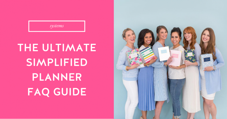 Simplified Planner girls holding 2021 Simplified Planners in Happy Floral, Happy Stripe, Gold Bee, Pink Pinstripe, Pineapple Crest, and Blue Trellis