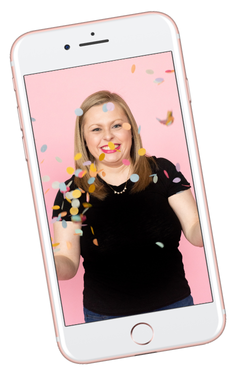 Photo of Alexandra of The Productivity Zone throwing colorful confetti in an iPhone mockup.