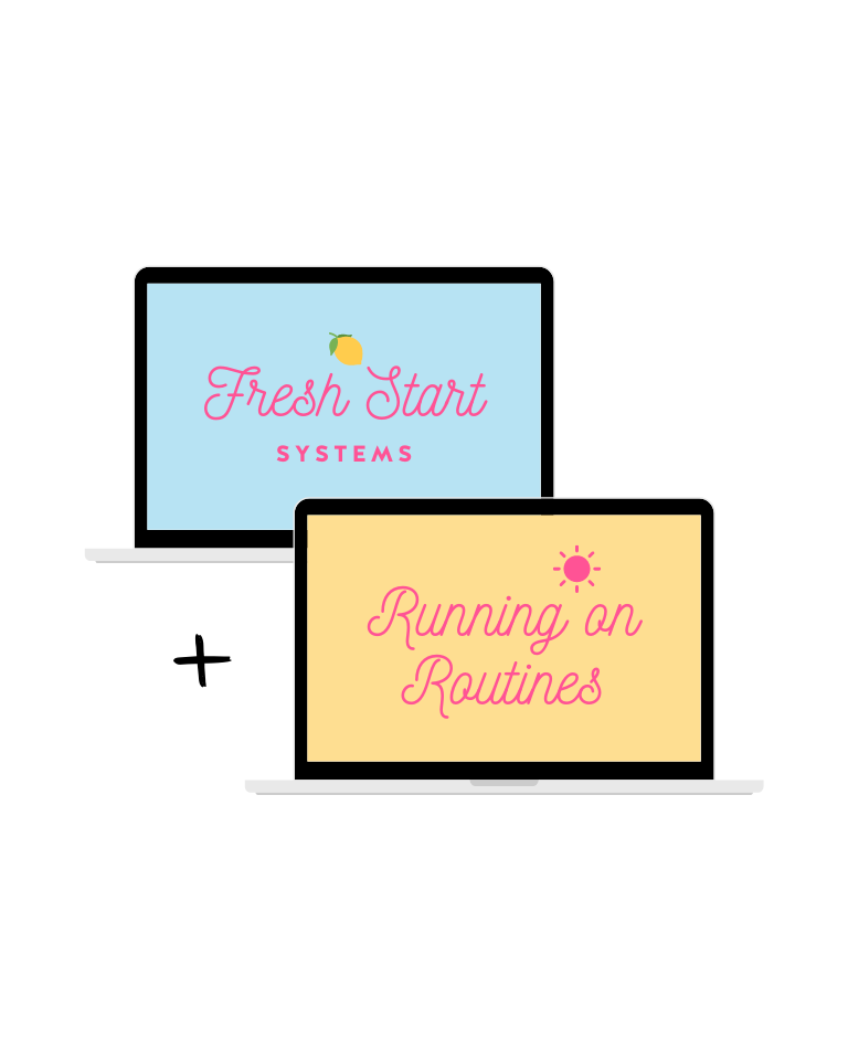 Fresh Start Systems and Running on Routines logo displaying on laptop mockups.