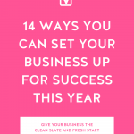 Hot pink background with 14 Ways You Can Set You Business Up for Success This Year in bold white letters