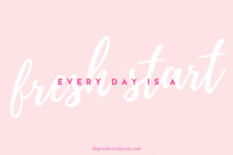 Every day is a fresh start quote featuring a bold script font in white and hot pink on a light pink background.
