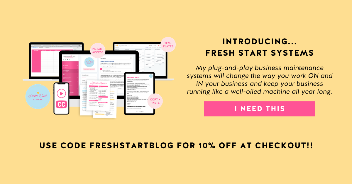 Fresh Start Systems course mockup and course details on a yellow background