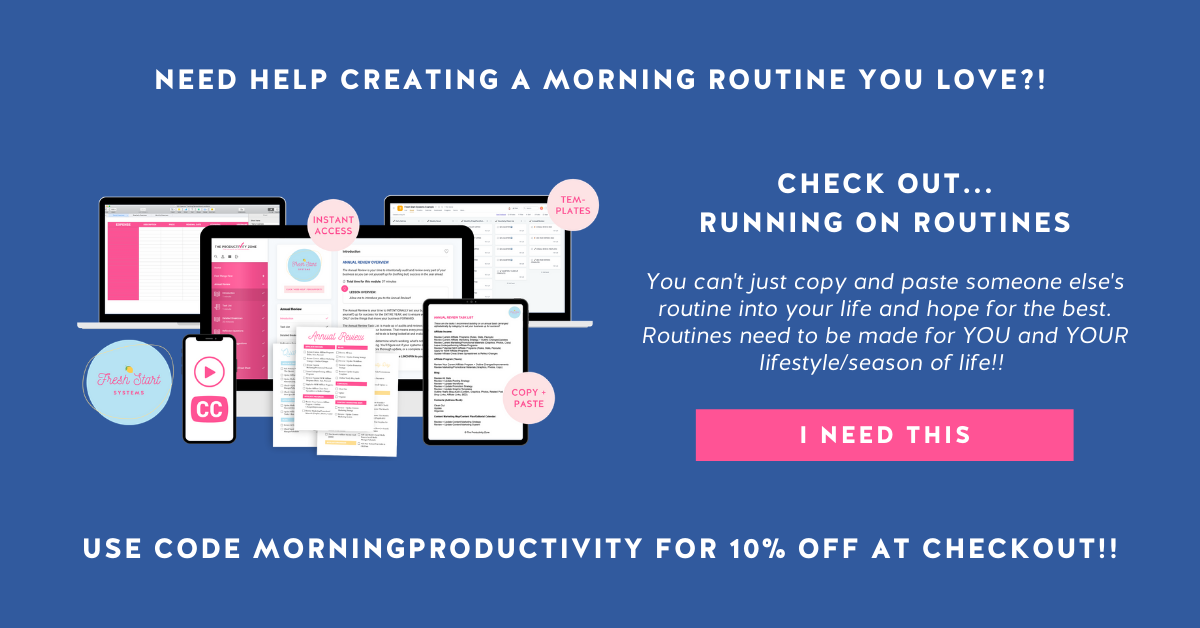 Running on Routines course mockup and course details on a navy blue background