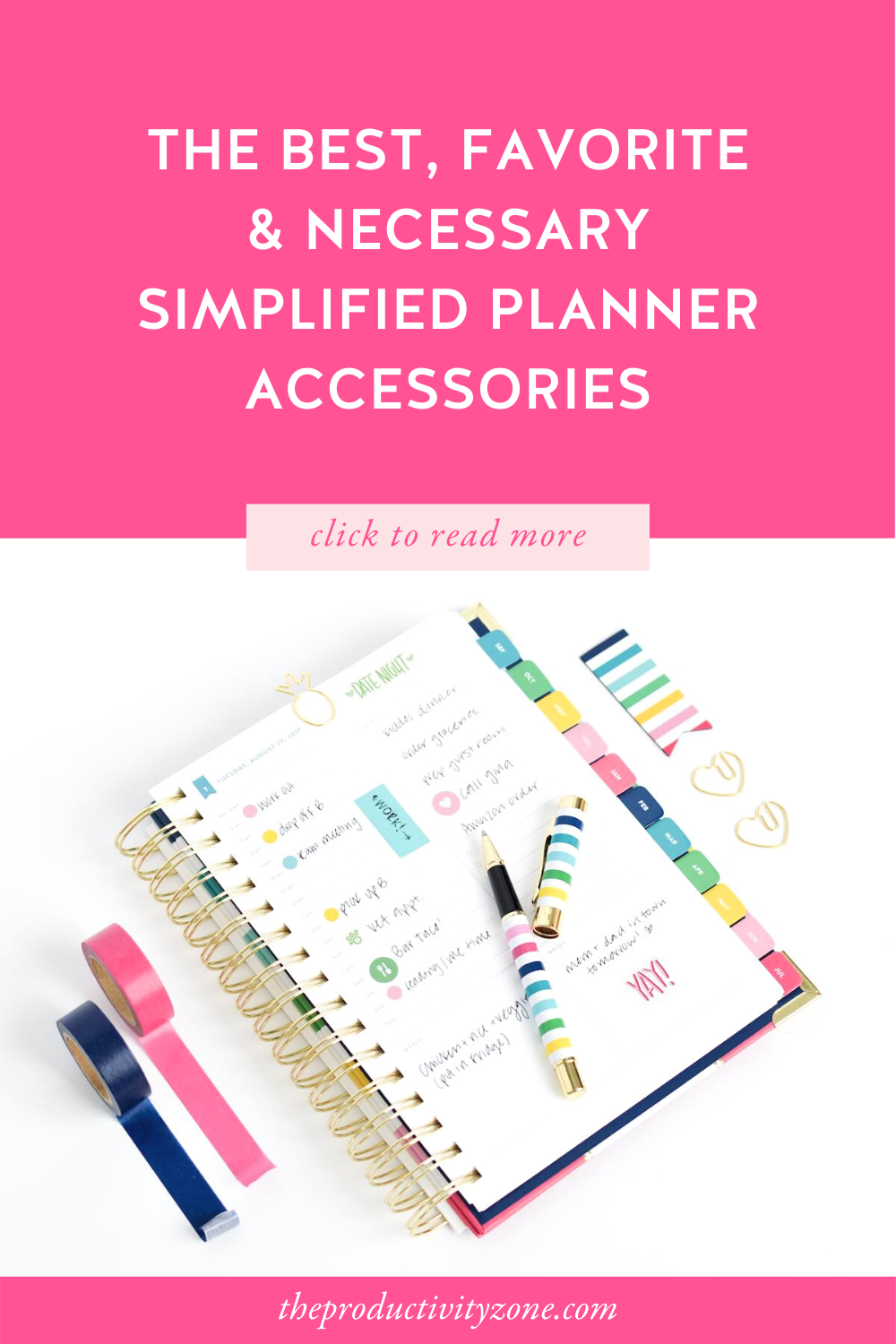 Simplified Planner folded over to show off a daily page using colorful planner accessories
