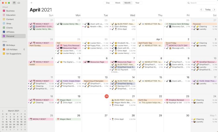 Close up screenshot of my digital calendar set up