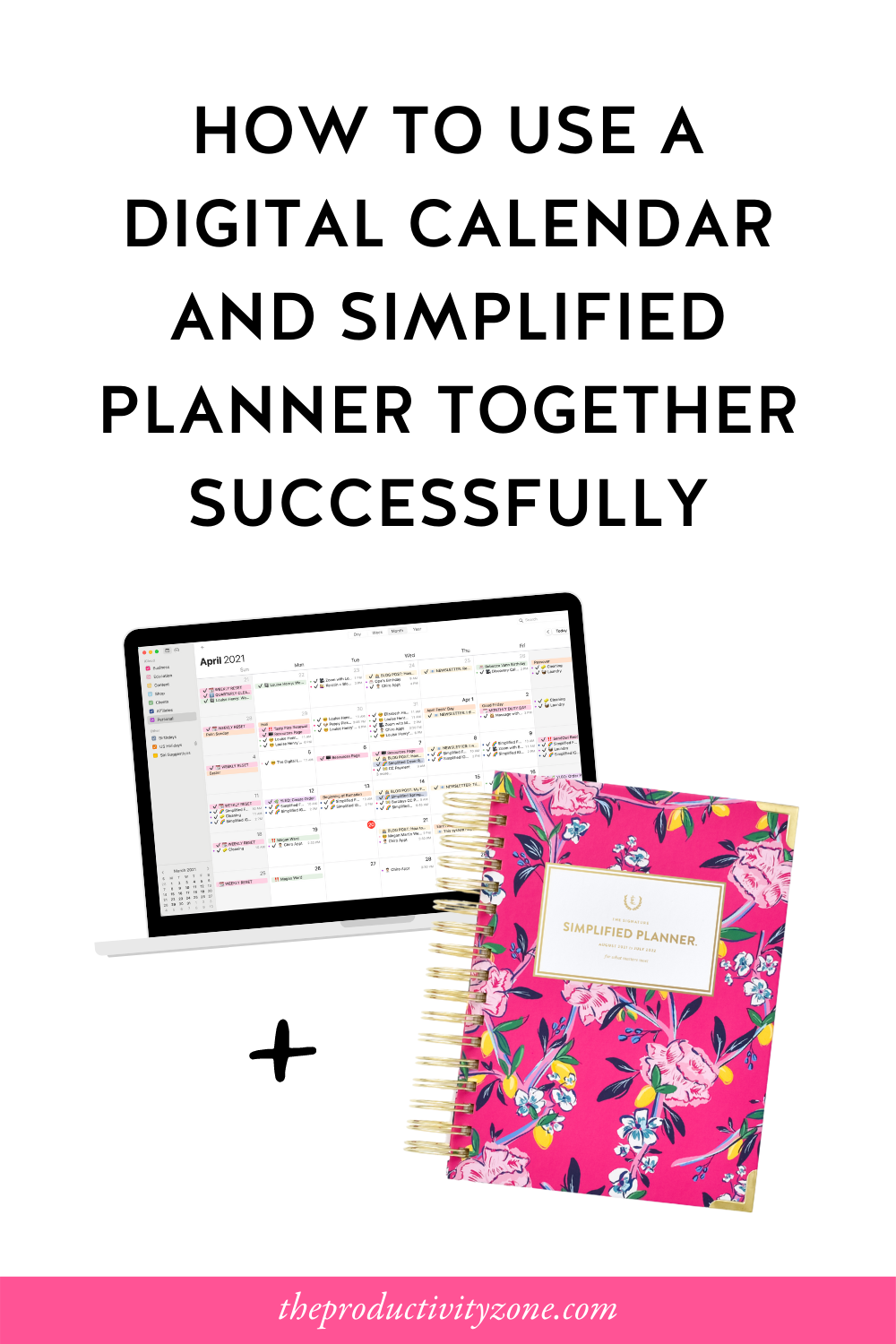 Open laptop showcasing digital calendar and Daily Fuchsia Chinoiserie Simplified Planner