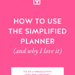 Hot pink background with How to Use the Simplified Planner (And Why I Love It) in bold white letters