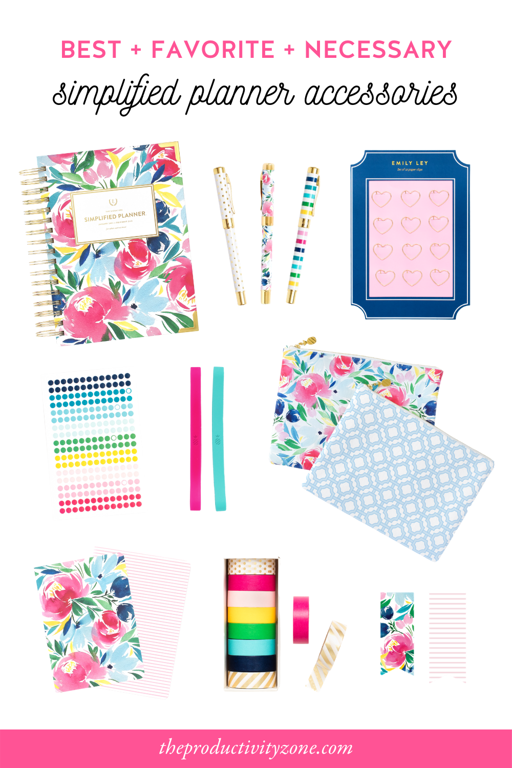 Simplified Planner accessories shopping guide including a daily planner, pens, paper clips, stickers, stretchy bands, planner pouches, mini notebooks, washi tape, and page markers