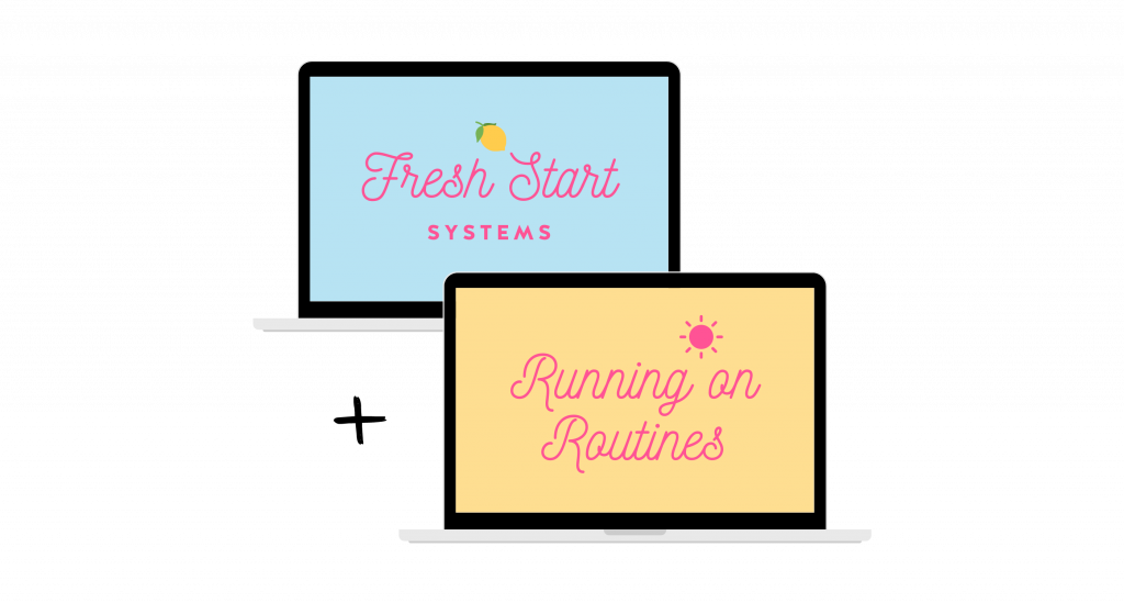 Fresh Start Systems and Running on Routines logos displayed on laptops mockup.
