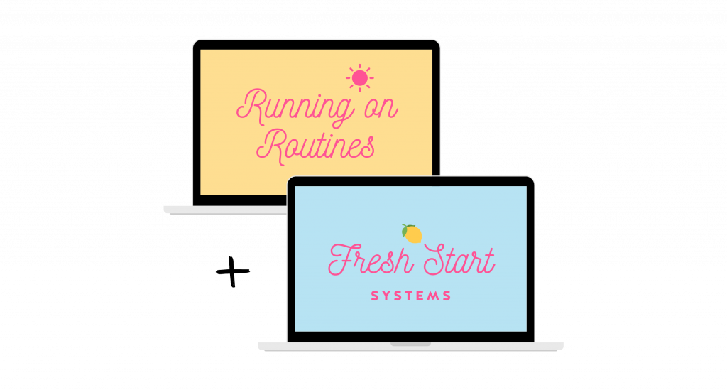 Running on Routines and Fresh Start Systems logos displayed on laptops mockup.