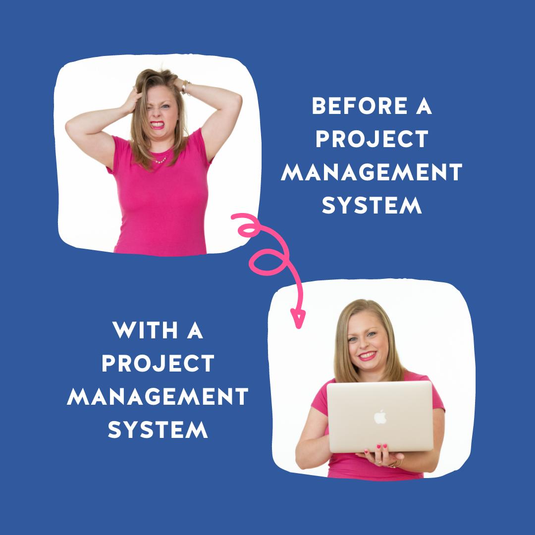 Navy background with a photo depicting what business is like before a project management system (stressed, hair a mess) and another picture depicting life after a project management system (happy business owner)