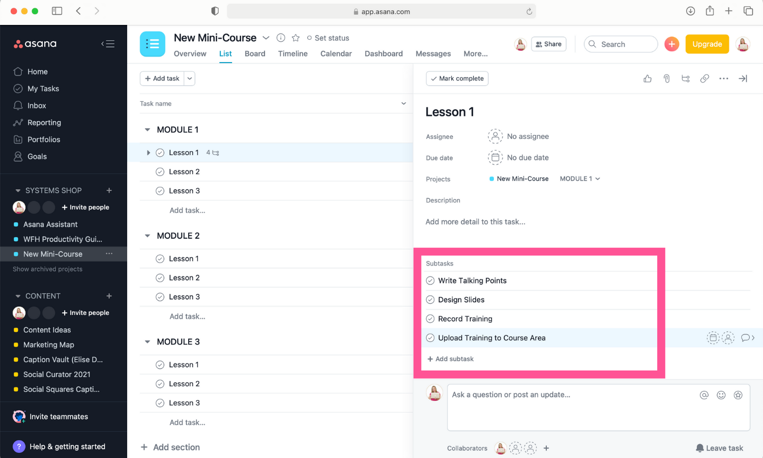 Screenshot of subtasks listed out in Asana.
