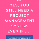 Hot pink background with Yes, You Still Need a Project Management System Even If... in bold white letters