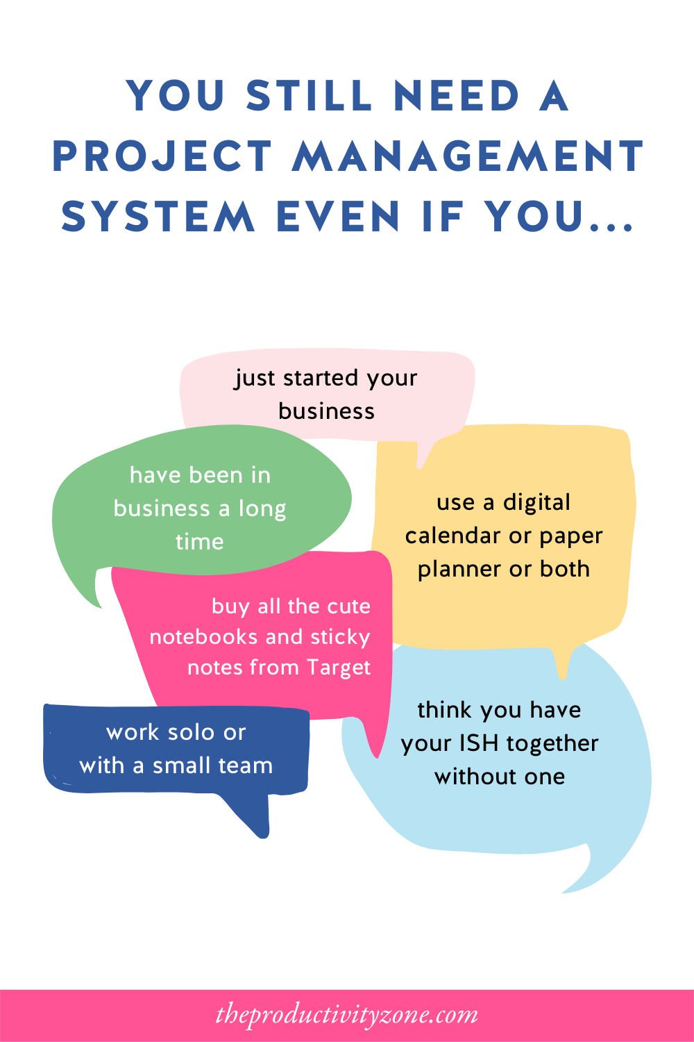 Colorful speech bubbles with all the reasons why you still need a project management system on a white background