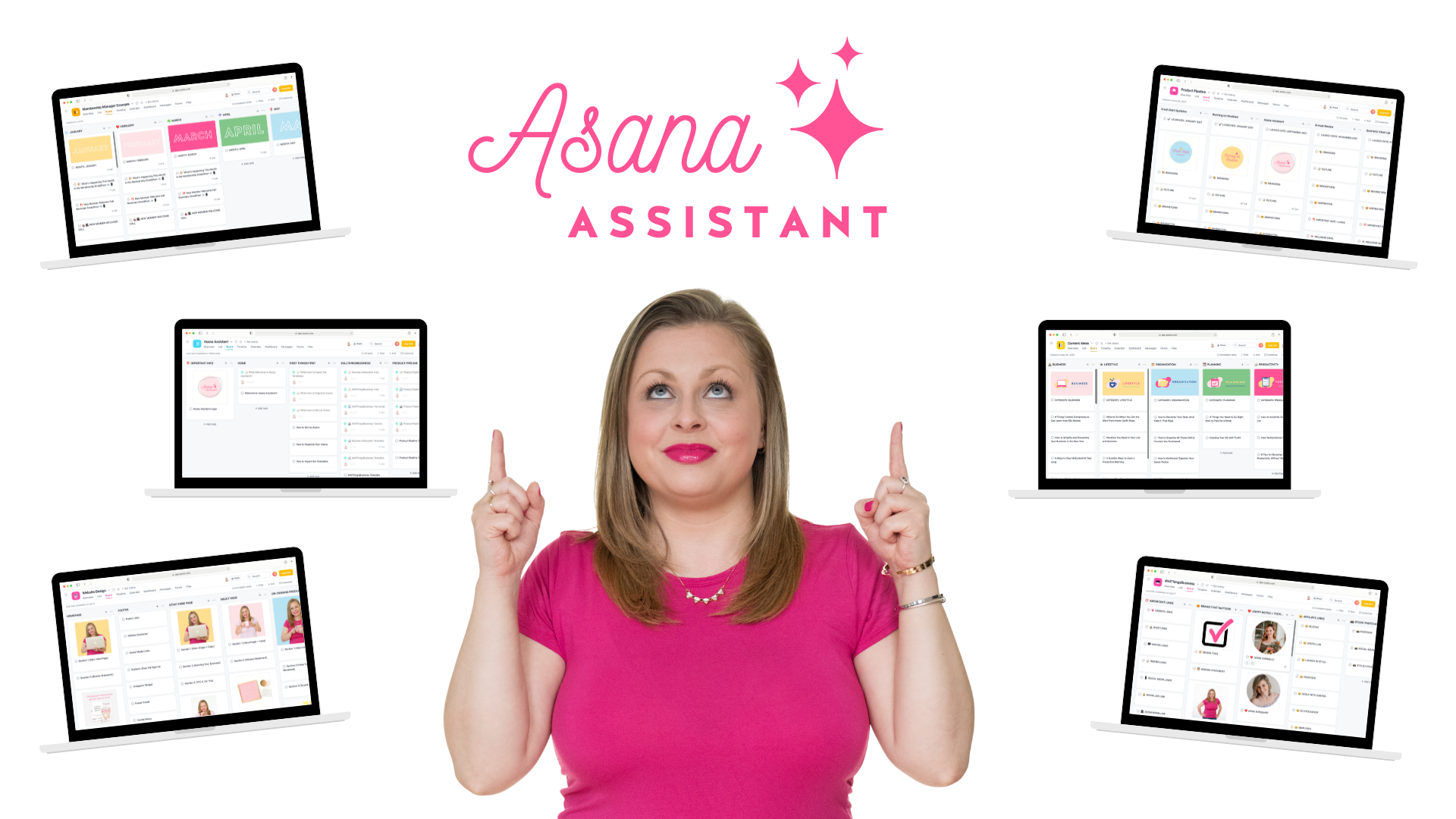 Alexandra of The Productivity Zone in a hot pink t-shirt pointing up at the Asana Assistant logo surrounded by laptop mockups featuring her Asana Assistant templates