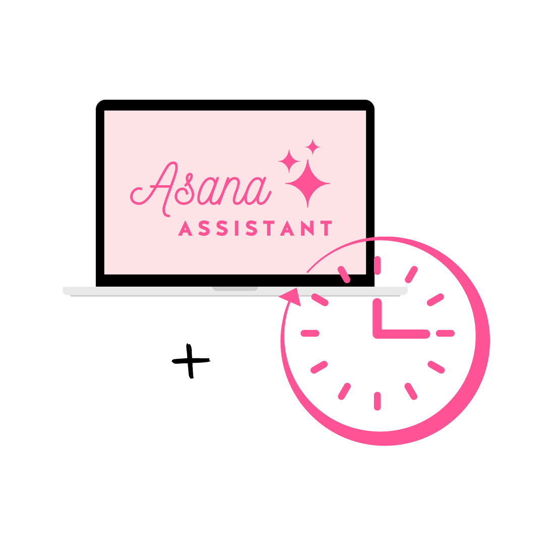 Asana Assistant logo displayed on a laptop mockup with a hot pink clock graphic overlaid on the bottom left corner