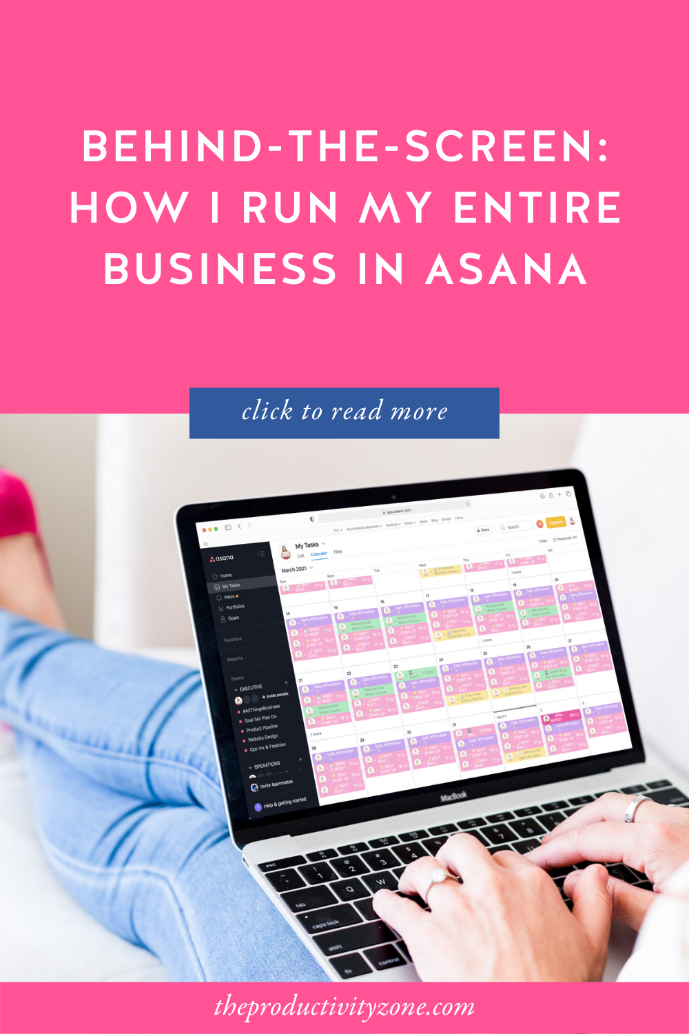 woman sitting on a couch in jeans and hot pink high heels with her feet up, working on her laptop, which shows the My Tasks view in Asana