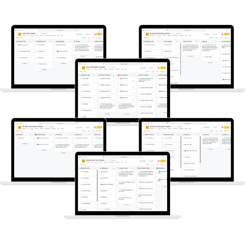 laptop mockups featuring the Client Management Asana templates for coaches and service-based businesses